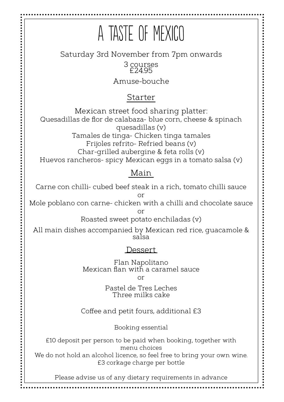 Mexican menu web