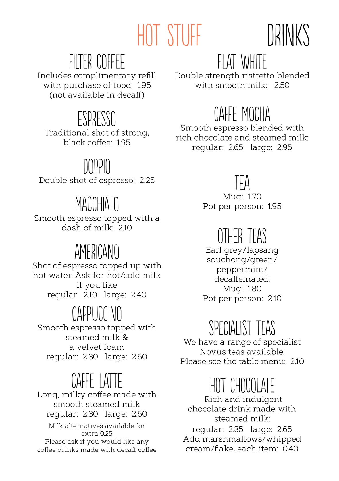 Drinks menu August 2019