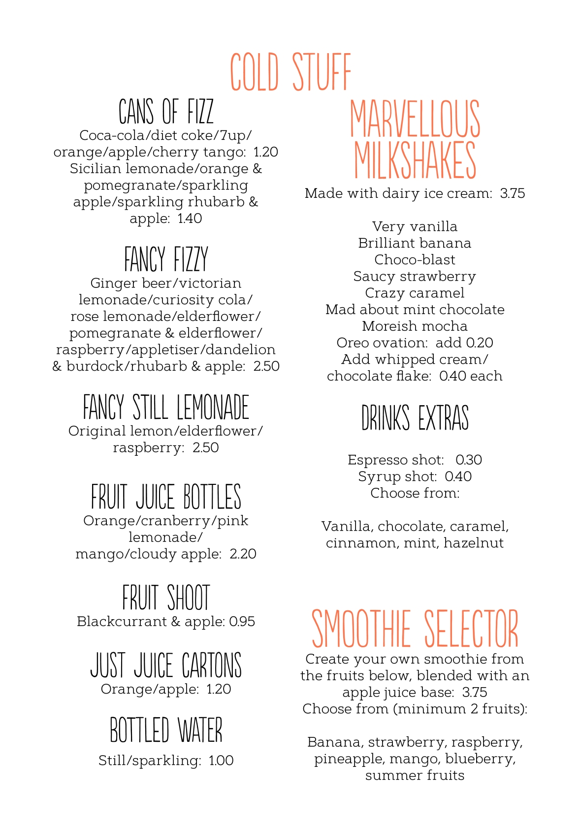Drinks menu August 20192
