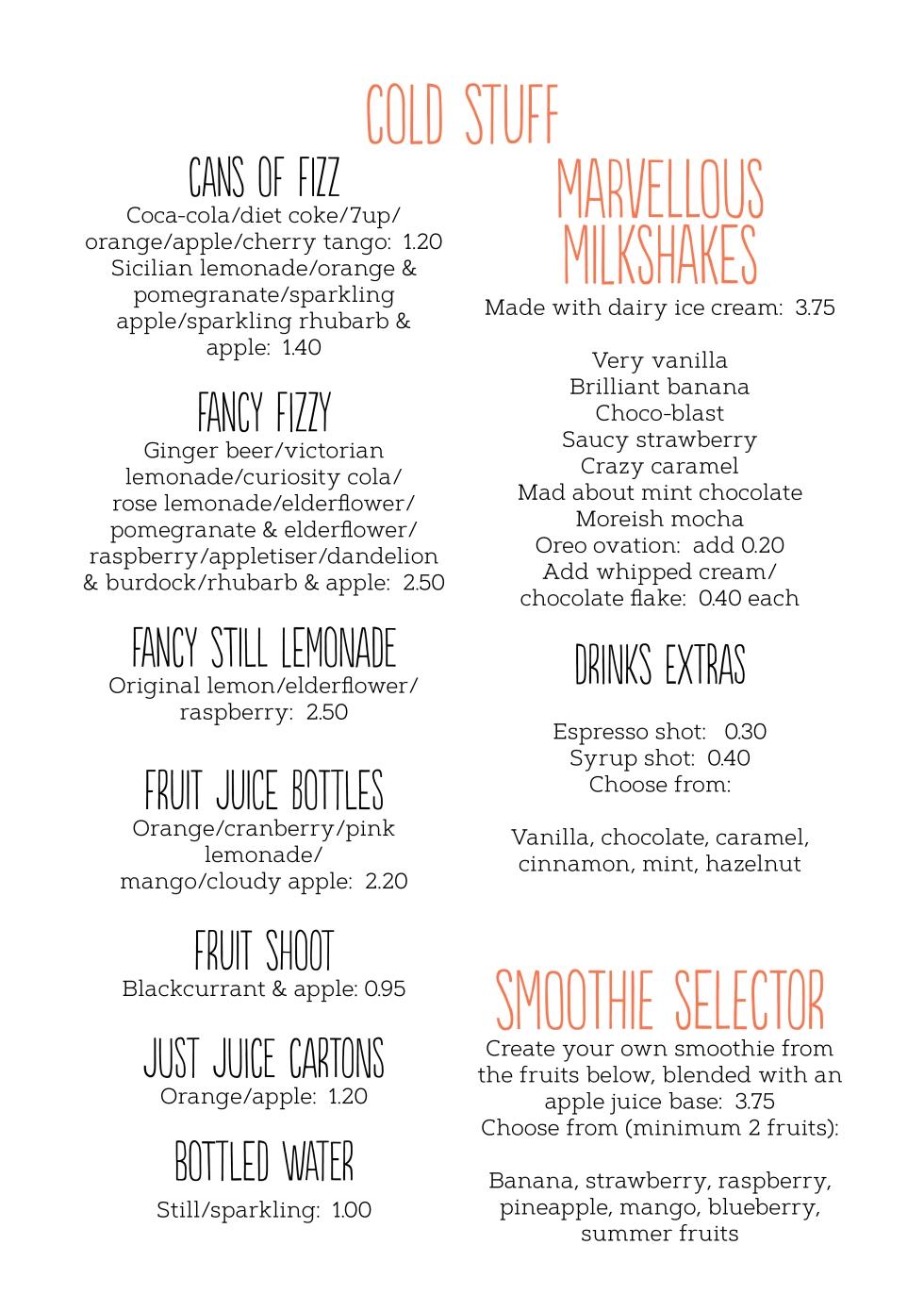 Drinks menu August 20192
