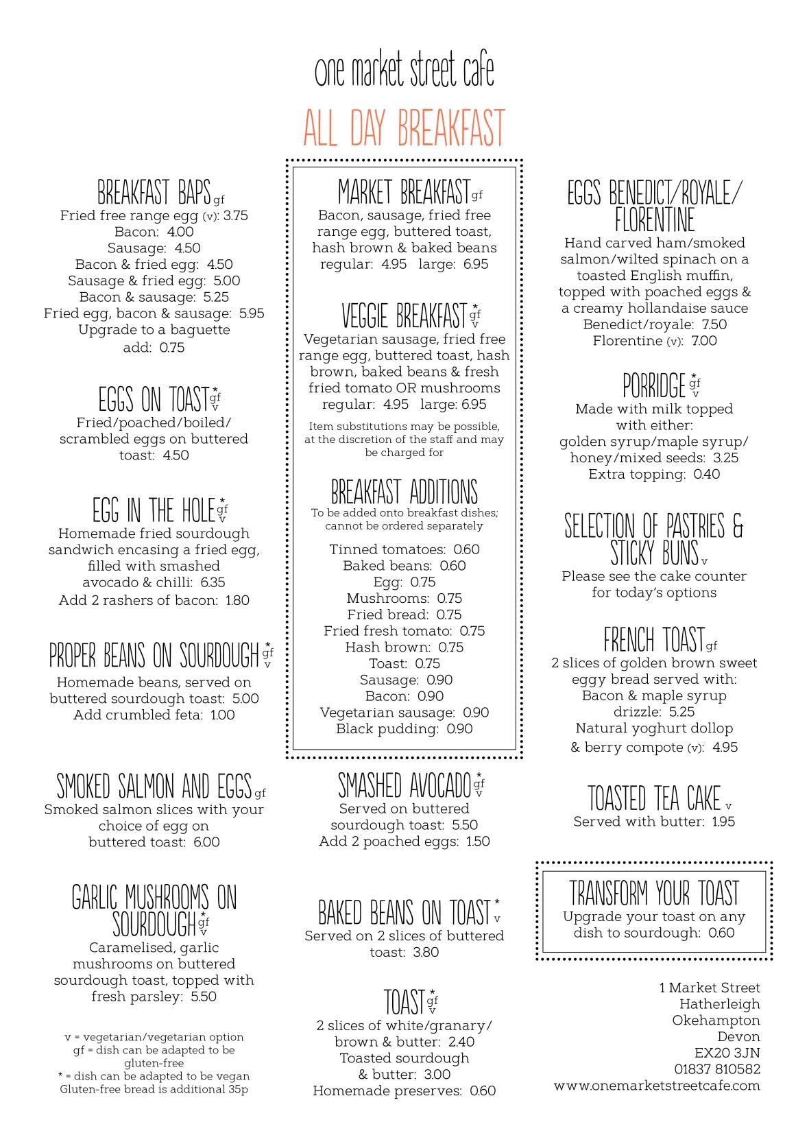Food menu August 19