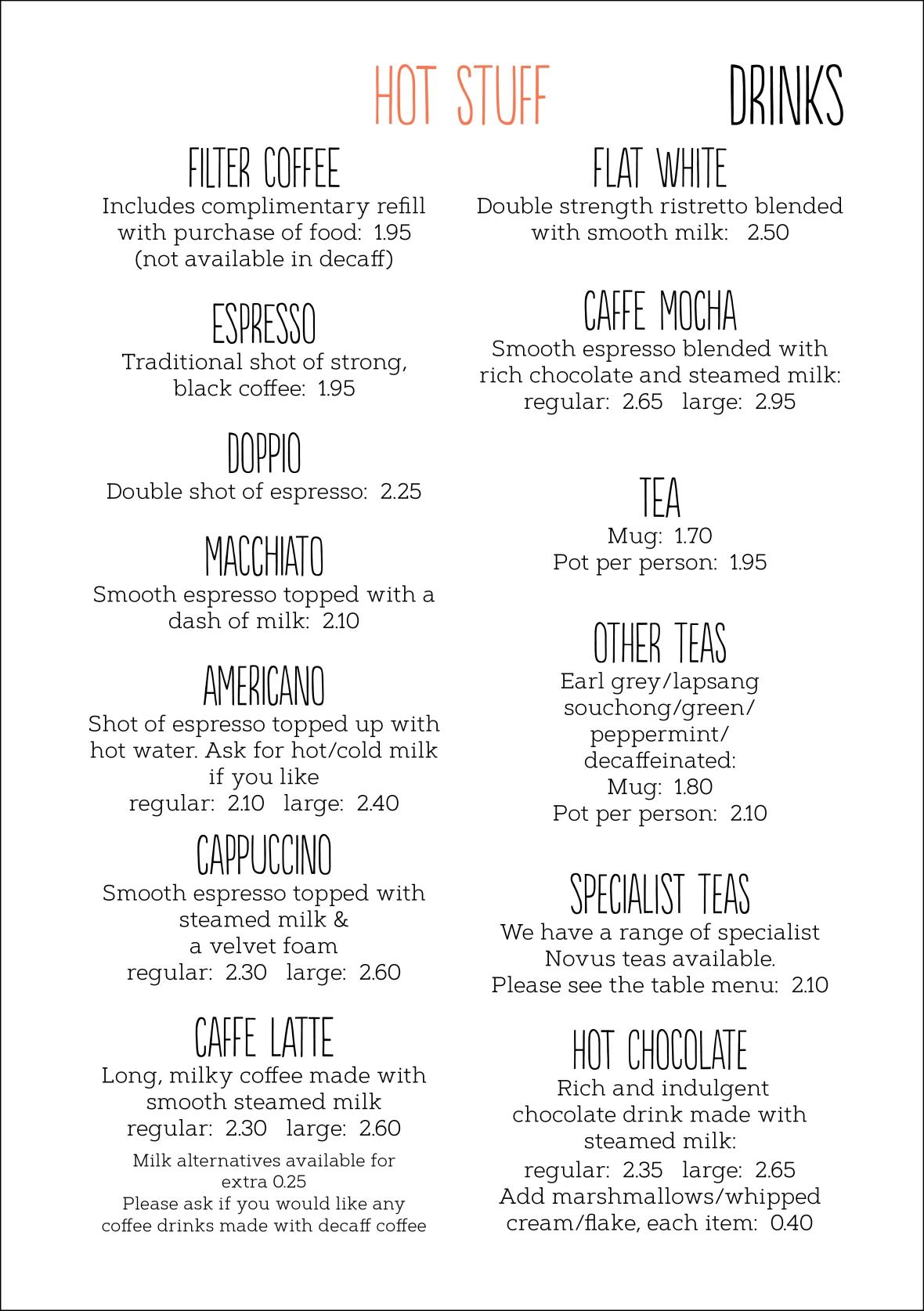 Drinks menu July 20