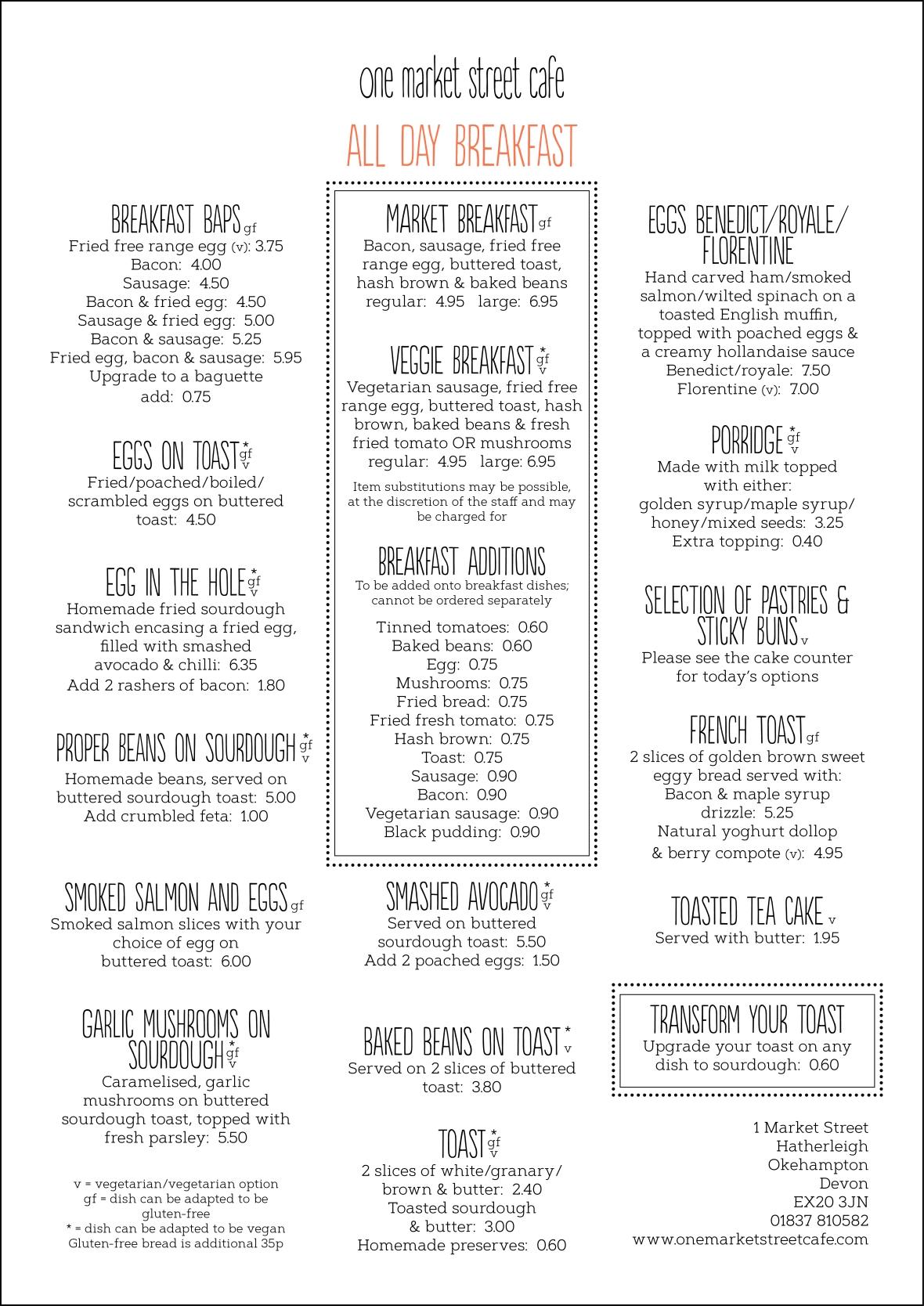 Food menu July 20