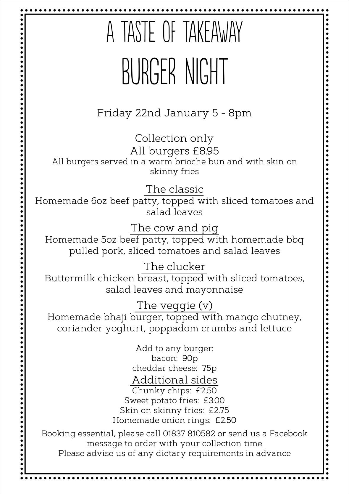 A Taste of takeaway burger night Jan 21